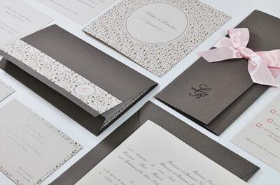 Faire-part de mariage inspiration taupe, rose et grège pour l'Art du Papier