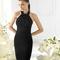 Vestido negro corto con incrustaciones para damas de boda