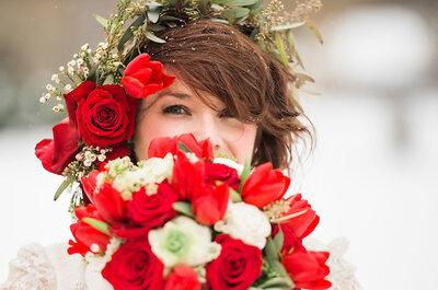 Nieve, rosas rojas y un vestido de novia con historia de 3 generaciones