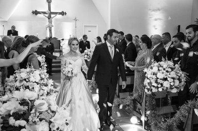 O casamento clássico e romântico de Mariana & Leonardo: branco e prata deram o tom da decoração