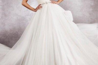 Wiązane na szyi suknie ślubne z kolekcji Moonlight od Agnes 2013