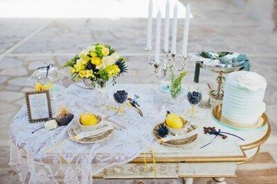 Decoración para boda en casas y jardines usando amarillo y azul