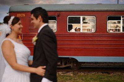 Sesión fotográfica de bodas: medios de transporte para los novios