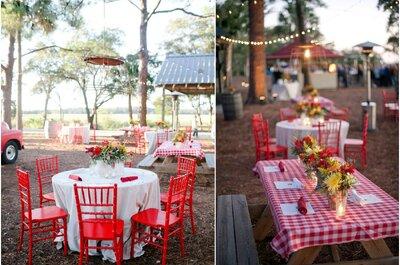 Un gran picnic en exterior para una boda rustic-chic