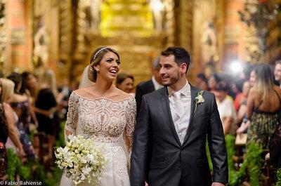 Casamento clássico à noite de Bianca & Lucas: glamour e sofisticação no Mosteiro de São Bento!