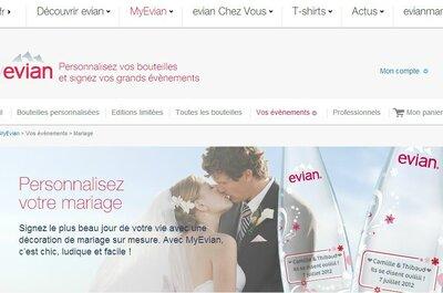 Bouteilles personnalisées MyEvian: une idée pétillante pour votre mariage