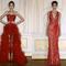 Vestidos de fiesta largos en color rojo intenso con plisados, escotes en tendencia y detalles asimétricos