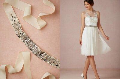 Detalhes para complementar seu vestido de noiva: cintos, laços, bordados e pedraria