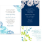 Invitaciones de boda coloridas en color azul y verde limón con impresiones de flores