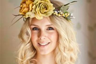 Blumenkränze für die Braut - Romantische Brautfrisuren mit Blumen