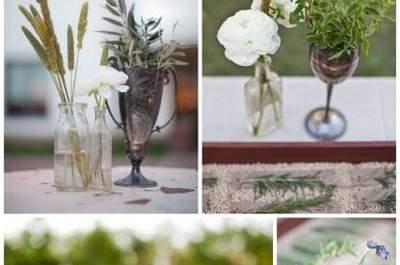 Decoración vintage para mesas de bodas