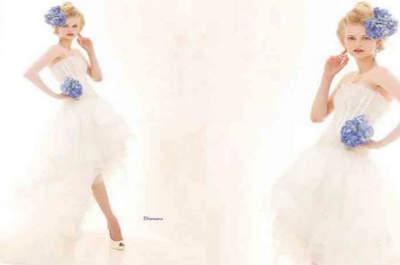 Lo mejor para el 2016, en vestidos de novia cortos por delante y largos por detrás