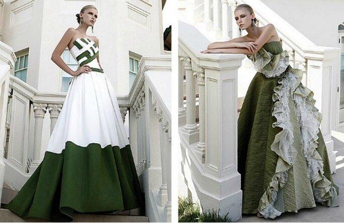 Bianco e verde salvia possono apparire un abbinamento ardito ma in realtà risulta molto elegante. Elisabetta Polignano Collezione 2012
