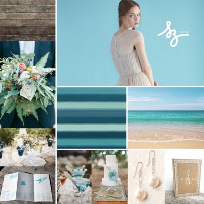 Collage de inspiración para decorar tu boda con el color azul turquesa - Foto weloveyu.com, lovelybride.com, stylemepretty.com. Diseño de Raisa Torres para SZ Eventos