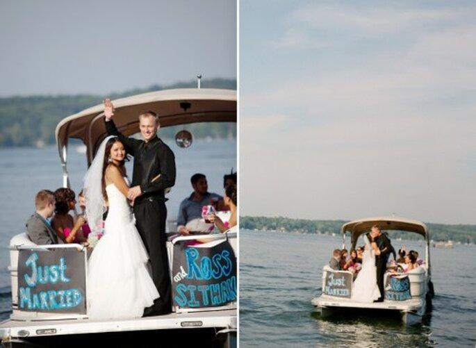 """el """"auto de boda"""" de los recién casados. Foto Jen Lynne"""