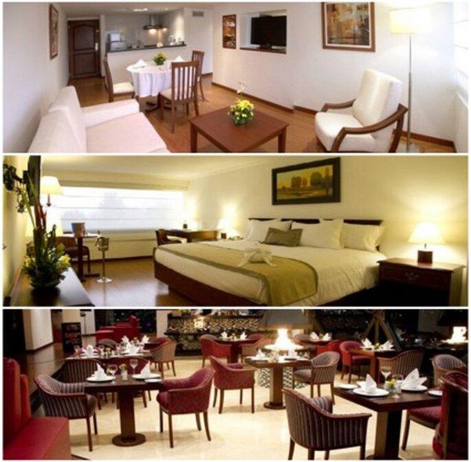 Varios ambientes habitacion con salón, habitación doble, restaurante. Foto: Metropark Hotel