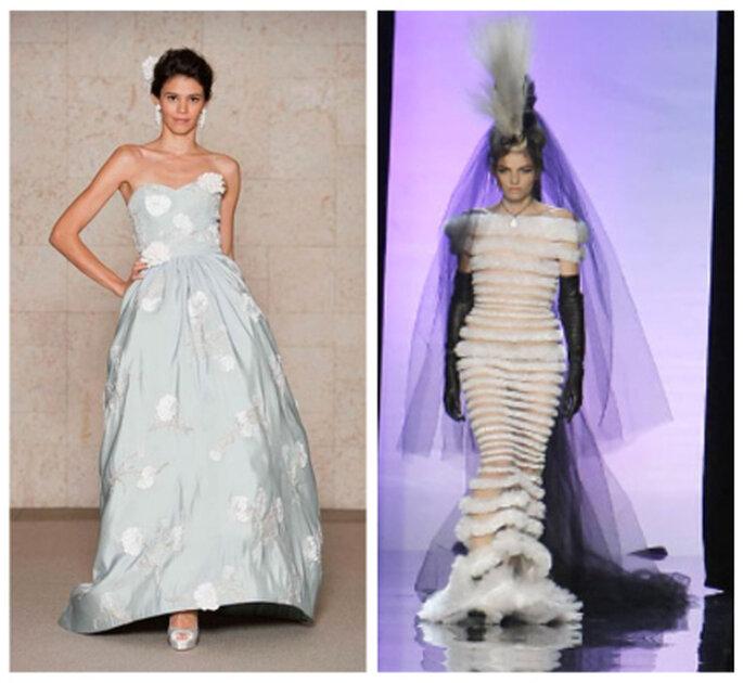 Abito bianco e azzurro di Óscar de la Renta 2012; vestito bianco e nero per la sposa Gaultier 2
