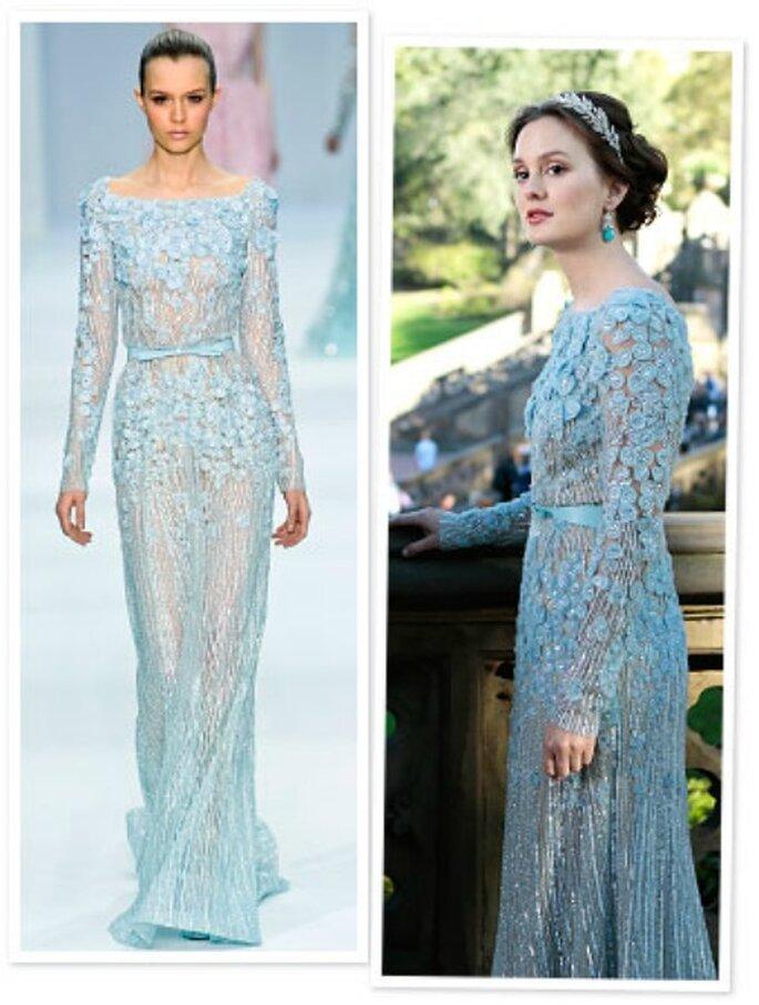 """La prima ad indossare un abito Haute Couture (proprio un Elie Saab) per un matrimonio fu Blair Waldorf in """"Gossip Girl""""...ed è stata subito tendenza. Foto: news.instyle.com"""
