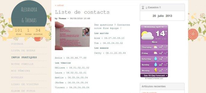 Información práctica en tu web de boda Zankyou