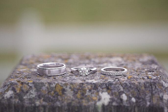 Anillos de platino con diamantes. Foto: B&E Photographs