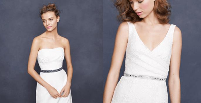 Cinturones de pedrería delgados para vestidos de novia elegantes - Foto J. CREW