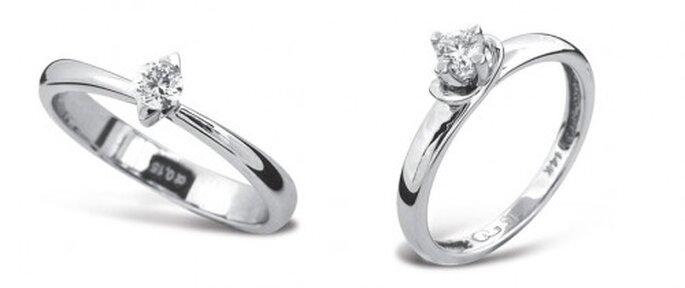 Anillo de compromiso sencillo con un diamante solitario - Foto Guvier joyeria y relojeria