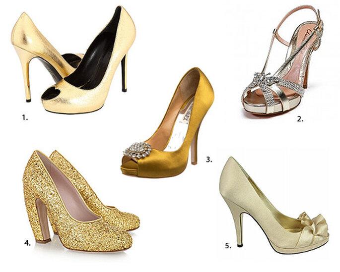 Zapatos dorados: 1. Alexander McQueen. 2. Aruna Seth. 3. Bagdley Mischka. 4. Miu Miu 5. Nina