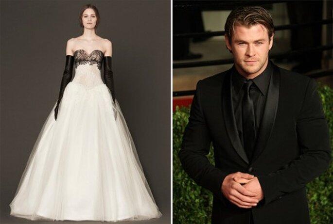 Estilo en pareja en colores blanco y negro para una boda inspirada en Halloween - Foto Vera Wang y Dolce and Gabbana Facebook