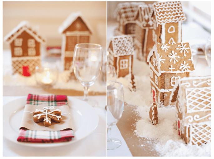 Decoración para mesas de boda inspirada en Navidad - Foto Rebecca Hansen
