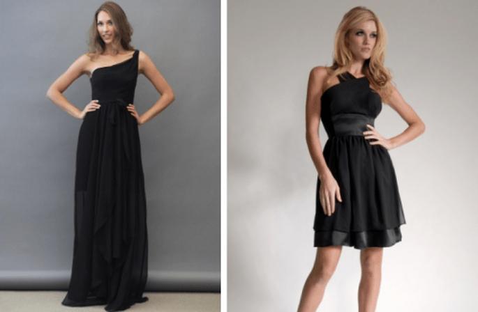 Vestidos para damas de boda en color negro con caída simple y detalles en la cintura - Foto Lazaro y Elizabeth St John