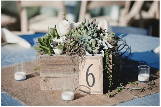 Decoración de boda con elegantes suculentas - Foto Mattew Morgan Photography