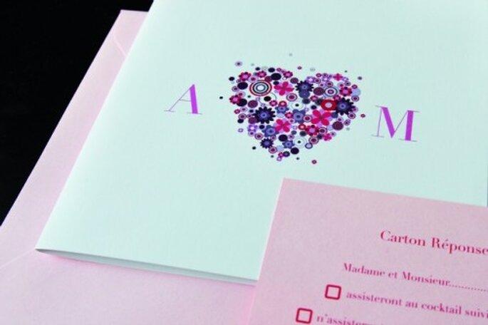 Faire-part de mariage Coeur Poudré pour l'Art du Papier - Crédit photo : Jeanne C