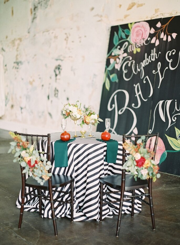 Una decoración con rayas en tu boda - Foto Landon Jacob