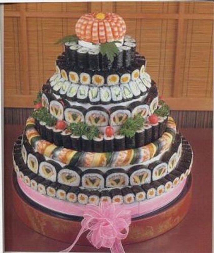sushi tort ślubny