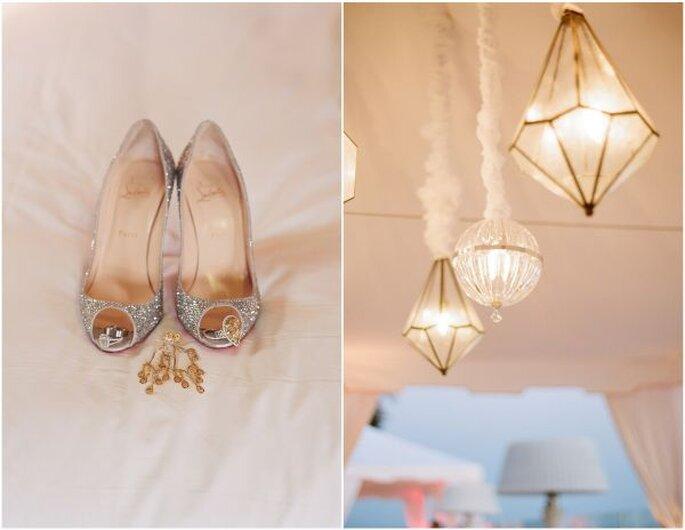 Zapatos de novia con brillos y aplicaciones - Foto Elizabeth Messina