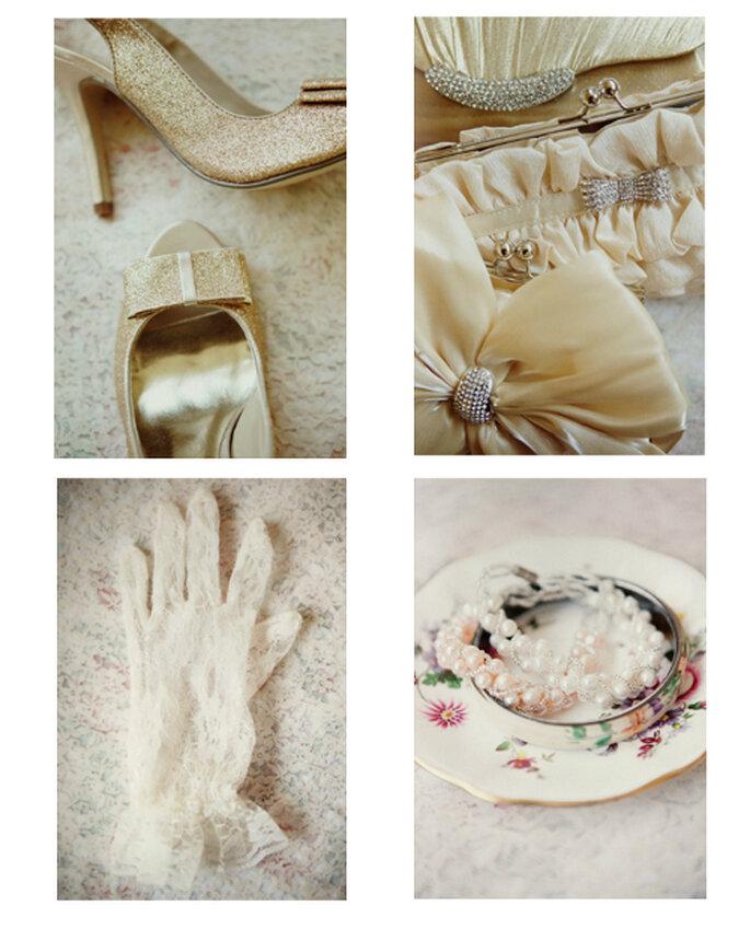 Zapatos, bolsas, guantes de encaje y accesorios vintage para una boda - Foto: Ruche
