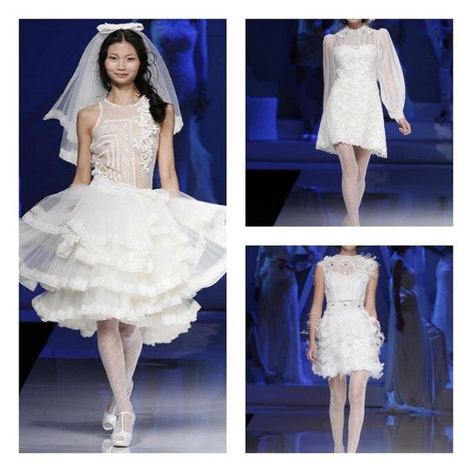 3 proposte di abiti da sposa corti. Yolan Cris Collezione 2013 Foto Barcelona Bridal Week
