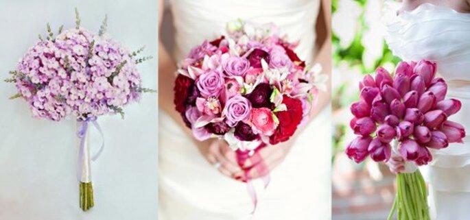 Ramos de novia en tonos rosas y lilas - Foto Haute Horticulture