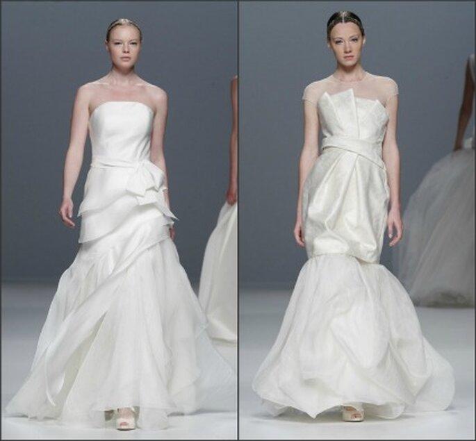Escotes palabra de honor en los vestidos de novia Jesús del Pozo 2012 - Ugo Camera / Barcelona Bridal Week