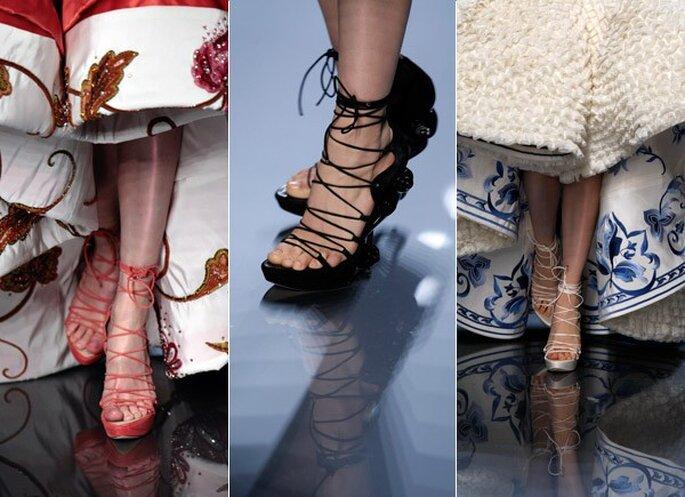 Propuestas de zapatos altos, acordonados y con plataformas de Dior