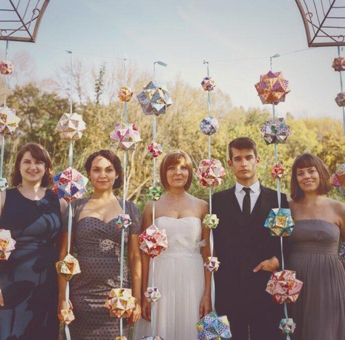 Decoración de boda con tendencia geométrica. Fotografía One Love Photo