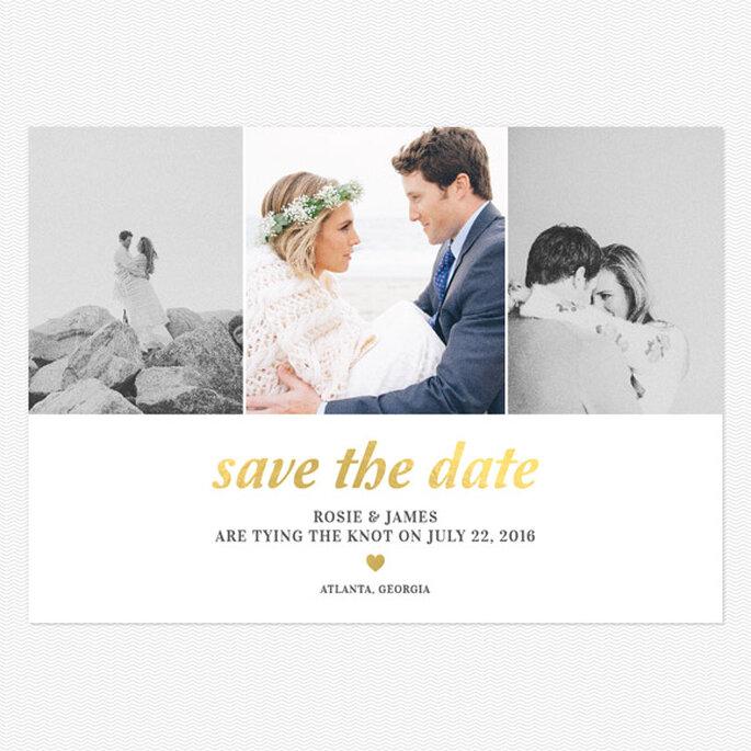 Save the Date personalizada con la foto de los novios. Foto: www.lovevsdesign.com