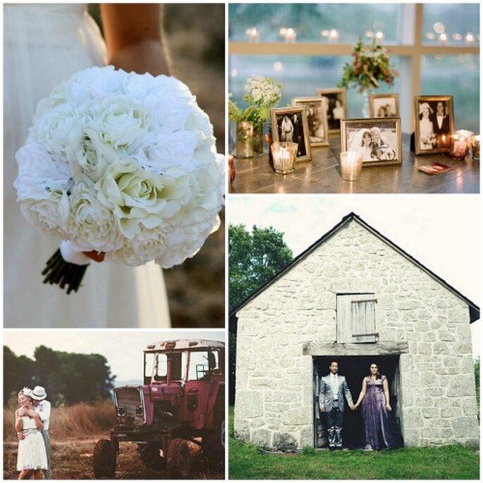 Flores de temporada, velas, fotos antiguas y entornos mágicos. Fotos: Rustic Chic Wedding, Jen Lynne, Mamazelle y Fran Cabades