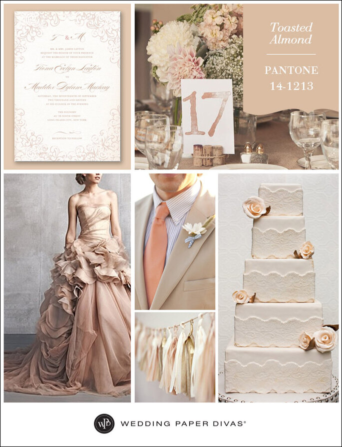 Da sinistra a destra: Wedding Paper Divas Dazzling Lace invite, Table Setting, Vera Wang Dress, Groom, Garland, Cake