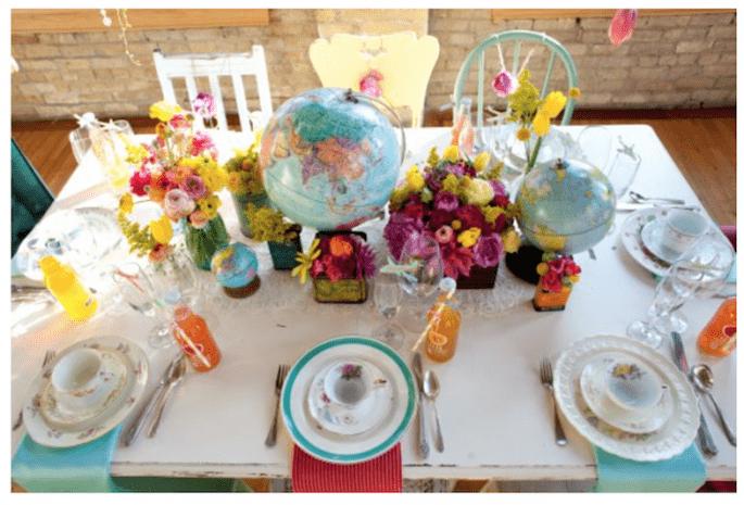 Decoración de boda inspirada en los viajes - Foto Erin Johnson