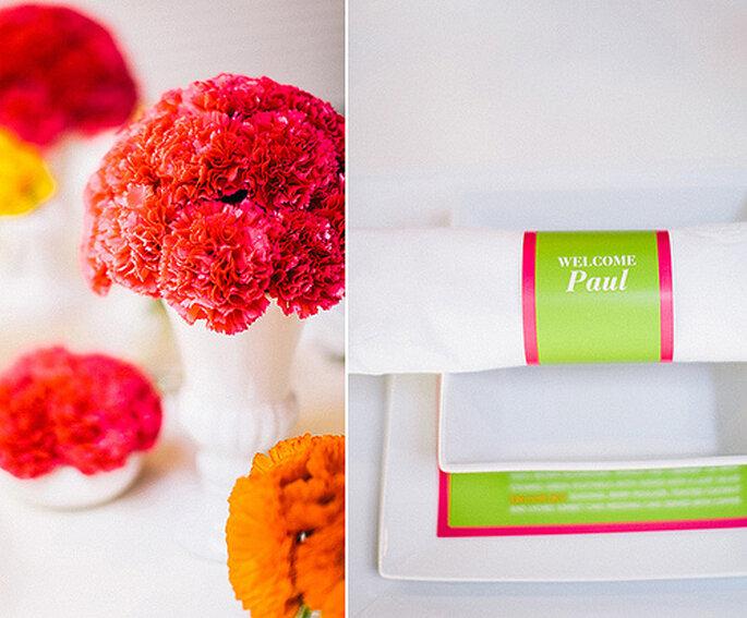 Flores y recuerdos de la boda en colores neón. Fotos de Cathrin d'Entremont