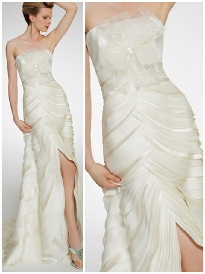 Vestido de novia escote strapless, corte sirena. Patricia Avedaño