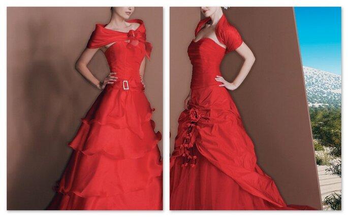 Abiti rossi per le spose piú intrepide: volants e ciontura in vita per il primo, ispirazione flamenca per il secondo