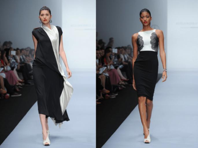Vestidos de fiesta en color negro con detalles en tono blanco y marfil - Foto Mercedes Benz Fashion Week México