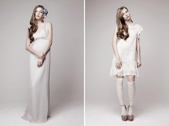 La colección presenta vestidos cortos y largos. Foto: Otaduy.